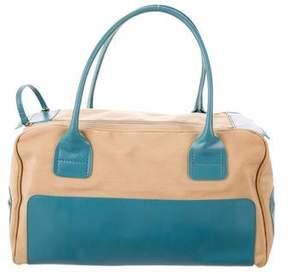 Hogan Leather-Trimmed Canvas Handle Bag