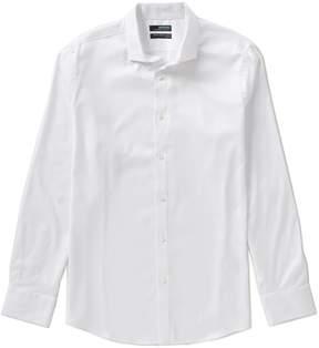 Murano Wardrobe Essentials Long-Sleeve Slim-Fit Textured Spread-Collar Sportshirt