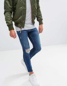 Pull&Bear Super Skinny Jeans In Blue Wash