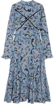 Erdem Cordelia Floral-print Silk Crepe De Chine Midi Dress - Light blue