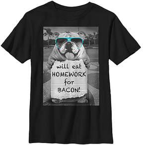 Fifth Sun Black 'Will Eat Homework For Bacon' Tee - Boys