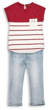 7 For All Mankind Baby's & Toddler Girl's Colorblock Tee & Jeans Set