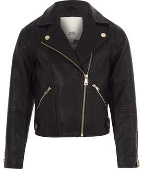 River Island Girls black faux leather biker jacket