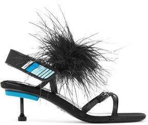 Prada Feather-embellished Satin Sandals - Black