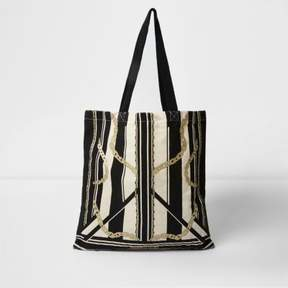 River Island Womens Beige stripe and chain print shopper
