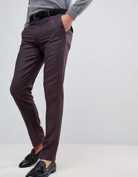 Asos Skinny Smart Pants In Burgundy 100% Merino Wool