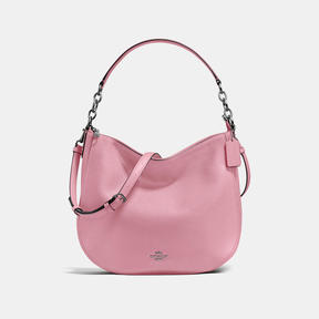 COACH CHELSEA HOBO 32 IN POLISHED PEBBLE LEATHER - DARK GUNMETAL/DUSTY ROSE