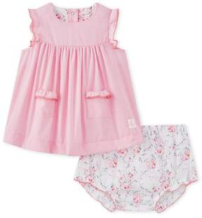 Petit Bateau Baby girls poplin dress in mini gingham with matching bloomers