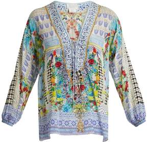 Camilla Masking Madness-print lace-up silk top