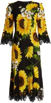 DOLCE & GABBANA Sunflower-print cady midi dress