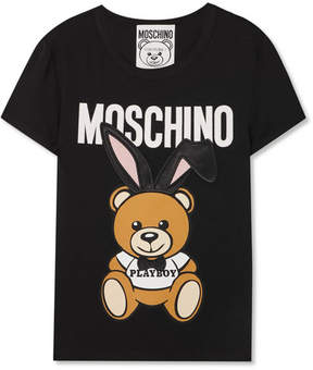 Moschino Satin-trimmed Embroidered Stretch-jersey T-shirt - Black