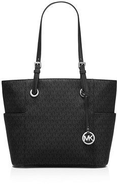 MICHAEL Michael Kors Jet Set East/West Signature Tote - BLACK/SILVER - STYLE