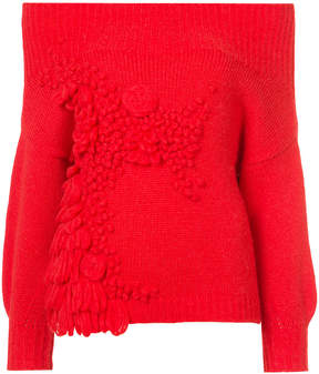 DELPOZO square shoulder knitted top