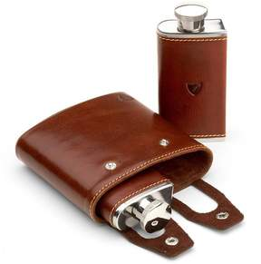 Aspinal of London Double 6Oz Leather Hip Flask In Smooth Cognac Espresso Suede