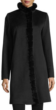 Fleurette Fur-Trimmed Stand-Collar Wool Coat