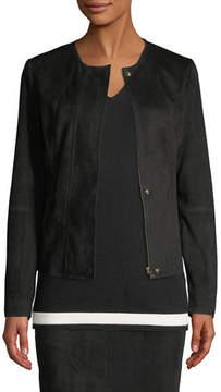 Escada Snap-Front Suede Jacket with Seam Details
