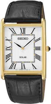 Seiko Mens Black Leather Strap Solar Watch SUP880