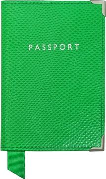 Aspinal of London Grass Green Lizard Passport Cover