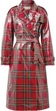 Burberry Coated-tartan Wool Trench Coat - Red