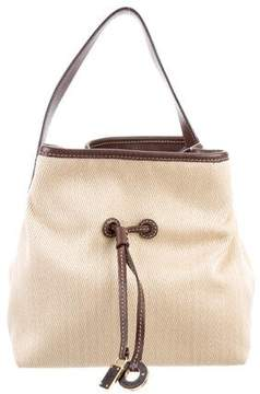 Loro Piana Leather-Trimmed Drawstring Bucket Bag