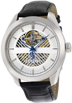 Co Brooklyn Watch Brooklyn Pierrepont Skeleton Automatic Silver Dial Men's Watch
