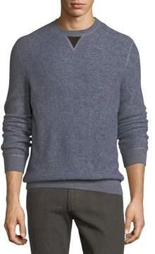 Ermenegildo Zegna Boucle Pullover Sweater with Leather V Detail