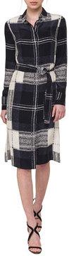 Akris Crosshair-Print Silk Satin Belted Shirtdress