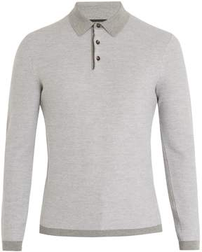 Ermenegildo Zegna Long-sleeved wool and cashmere-blend polo shirt