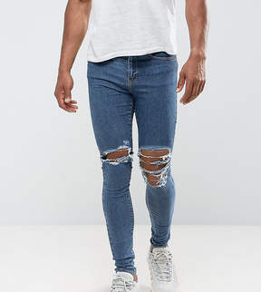Jaded London Muscle Fit Super Skinny Jeans In Mid Blue With Knee Rips