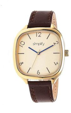 Simplify The 3500 Collection SIM3508 Square-Shaped Gold Analog Watch