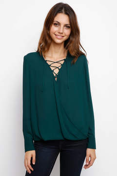 WAYF Tolly Surplice Lace-Up Front Blouse