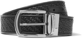 Ermenegildo Zegna 3.5cm Black Pelle Tessuta Leather Belt