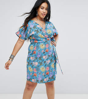 Alice & You Wrap Front Tea Dress In Illustrated Floral