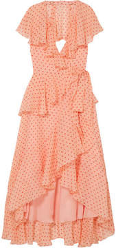 Temperley London Ruffled Polka-dot Silk-chiffon Wrap Dress - Peach