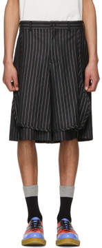 Comme des Garcons Black and Silver Lame Pinstripe Shorts