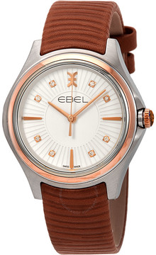 Ebel Wave Diamond Silver Dial Brown Leather Ladies Watch
