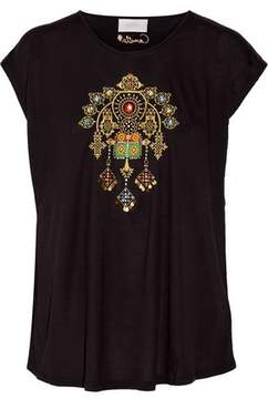 Camilla Amulet Embellished Embroidered Jersey T-Shirt