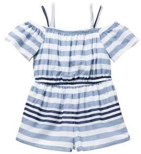 Bebe Off-the-Shoulder Stripe Romper (Little Girls)