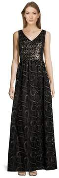 David Meister Embellished V-neck Sleeveless Gown.