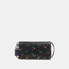 COACH DINKY IN GLOVETANNED LEATHER WITH CHERRY PRINT - BLACK COPPER/BLACK