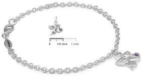 Ice Girls Silver June Birthstone Angel Charm Bracelet (5 1/2 or 6 1/2 In)