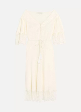 Etro Lace-paneled Silk-jacquard Midi Dress - Ivory
