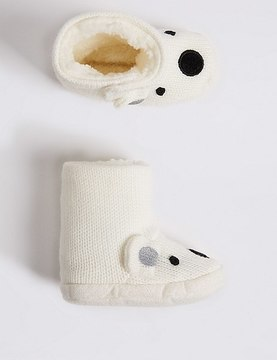 Marks and Spencer Polar Bear Slipper Booties (0-24 Months)