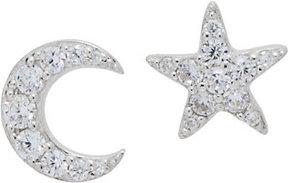 Diamonique Star & Moon Stud Earrings, Sterling