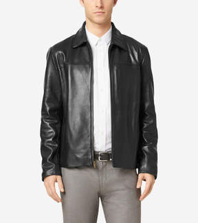 Cole Haan Smooth Leather Shirt Collar Jacket