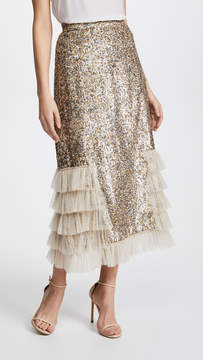 Rodarte Metallic Sequin Ruffle Skirt