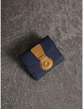 Burberry Two-tone Trench Leather Wallet - INK BLUE/OCHRE YELLOW - STYLE