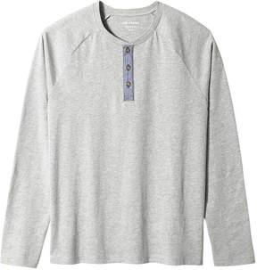Joe Fresh Men's Long Sleeve Henley Tee, Light Grey Mix (Size S)