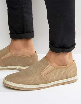Frank Wright Slip On Espadrilles Shoes Beige Suede