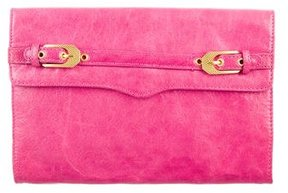 Rebecca Minkoff Leather Flap Clutch - PINK - STYLE
